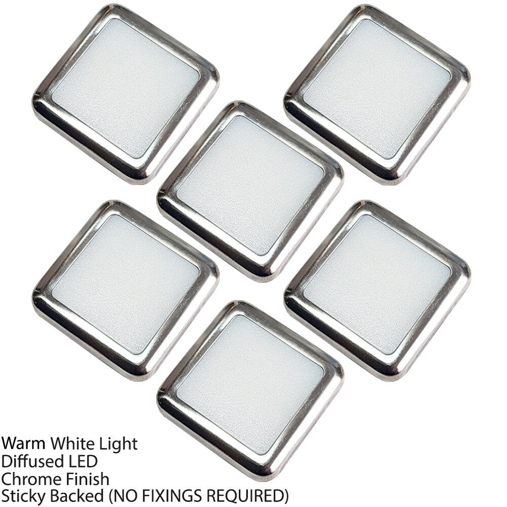 Kit de Luz LED Pedestal CUADRADO –6 Focos Blanco Blanco Focos Cálido – Cocina Cuarto De Baño Panel De Piso cb56ee