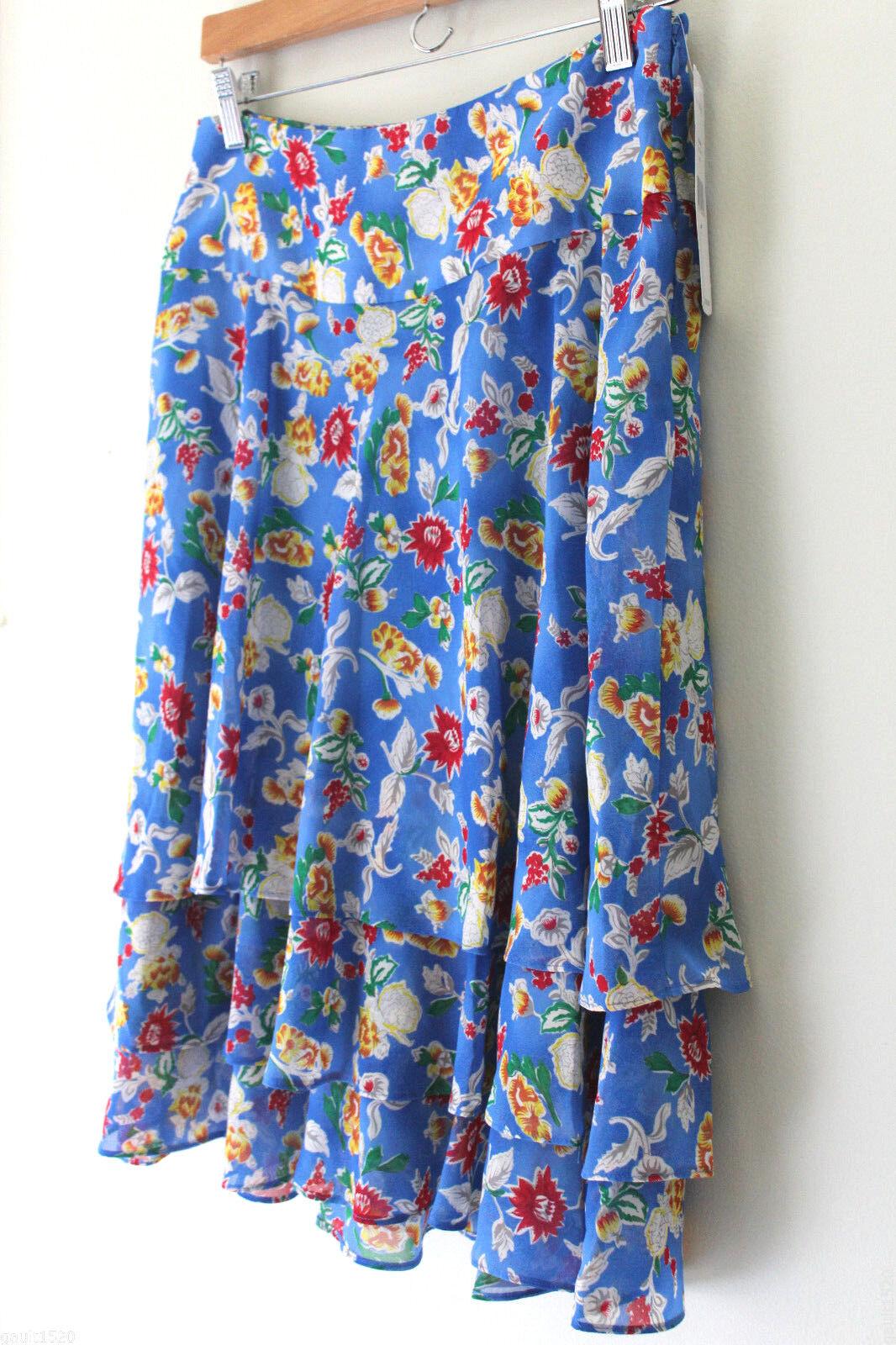 NWT LAUREN Ralph Lauren bluee Multi Floral Tiered Ruffled A-Line Skirt 6  129