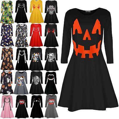 Kids Smock Skeleton Printed Halloween Fancy Costume Flared Swing Mini Dresses