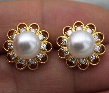 18K Yellow Gold Filled - Hollow Sunflower Pearl Topaz Women Party Gems Earrings