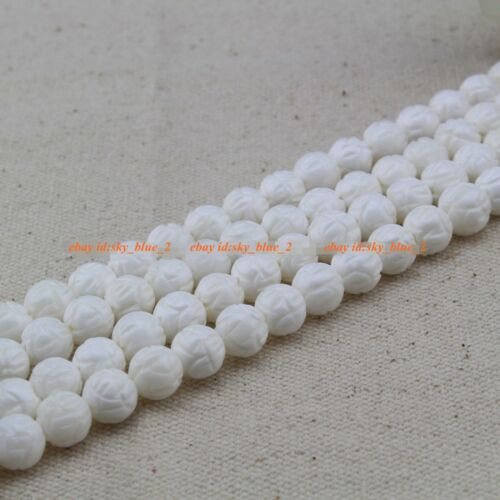 Naturel 6 mm 8 mm blanc Sculpture Coral Gemstone Bead Loose 15/""
