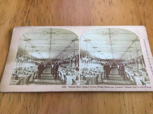 Vintage Stereoscopic Slide Dining Hall Union Hotel Saratoga