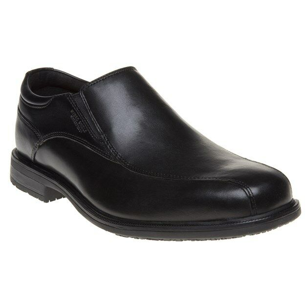 New Mens Rockport Black Essential Detail II bike slip on Leather Shoes Flats