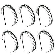 6 pcs Hairband Comb Headband Teeth Metal Wire with 13 Crystal Rhinestones