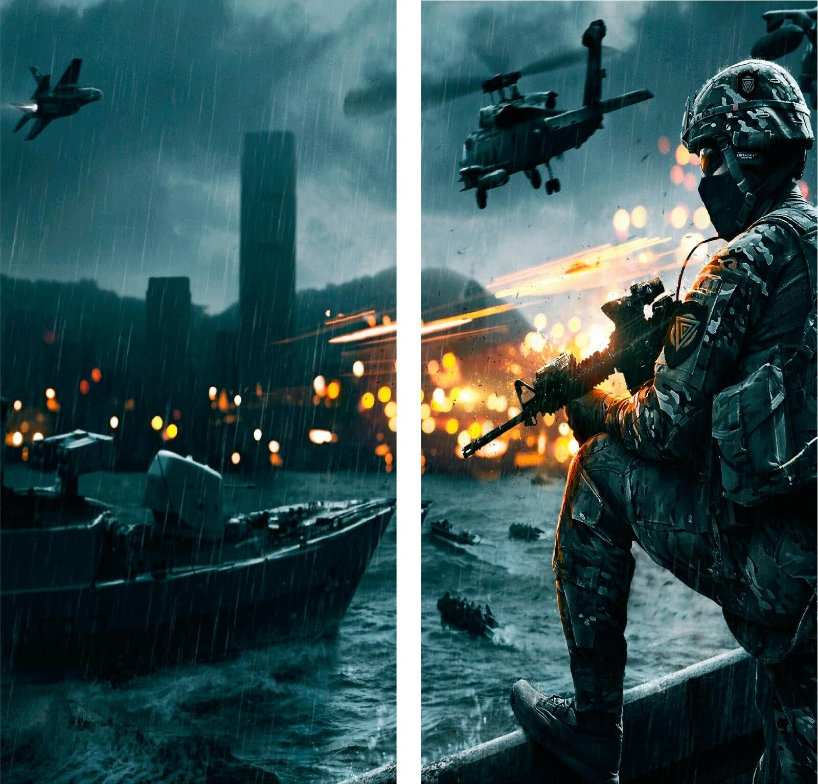 Military Action Scene Cornhole Decal Wrap Set 3M Vinyl  Prints  new listing