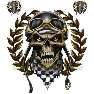 decal graphic motorcycle windscreens air brush racing skull quad