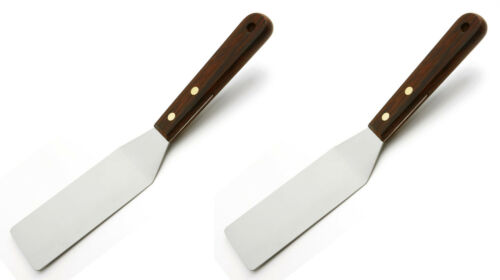 """Two Norpro 10/"""" Stainless Steel Cooking Serving Spatula Turner Wood Handle 1169"""