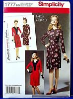 Vintage 40s Retro Dress Front Inset V Neck Ruching Sewing Pattern 6 8 10 12 14 Craft Supplies