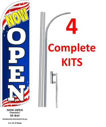 four 4 NOW OPEN PATRIOTIC 15/' x 3/' WINDLESS SWOOPER FLAGS KIT