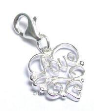 Sterling Silver Heart Love Dangle Charm Pendant European Lobster Clip On Charm