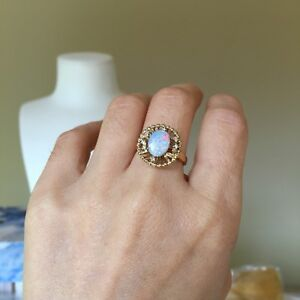 100-Natural-Solid-Australia-Opal-9k-Gold-Ring-W-0-054CT-Round-Diamond-2-82G