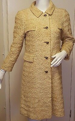 Vintage, Roos Atkins, Beige, Woven Wool/Slub Yarn, Coatdress, (Sz Small)