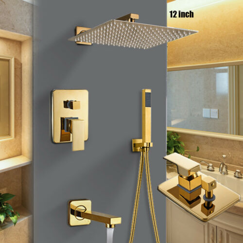 Gold 12/'/'Unterputz Duscharmatur Regendusche Kopfbrause Duschsystem Duschset Hand