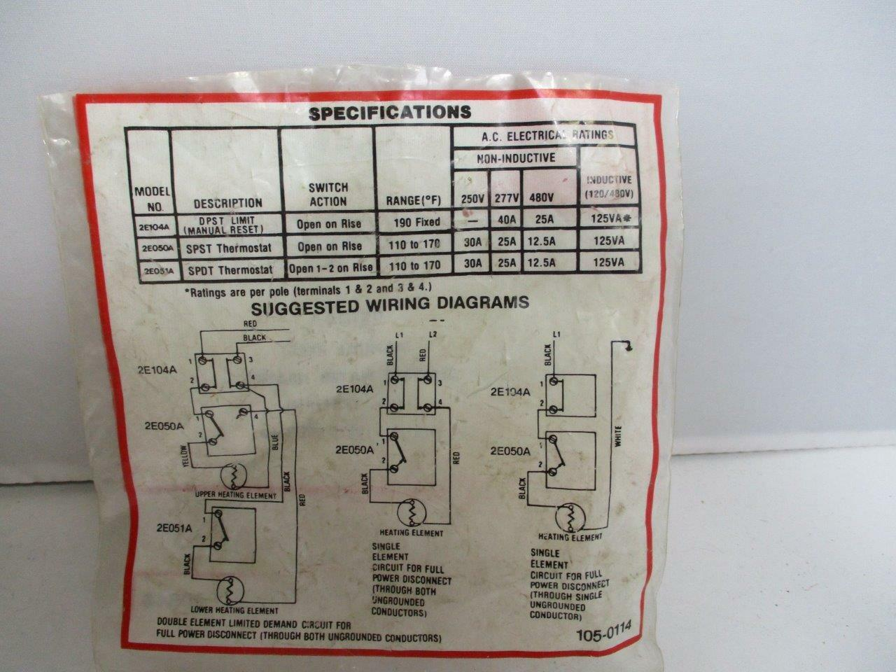 Dayton Manual Reset Electric Water Heater Limit Control 2e104a 190f Single Element Wiring Diagram Ebay