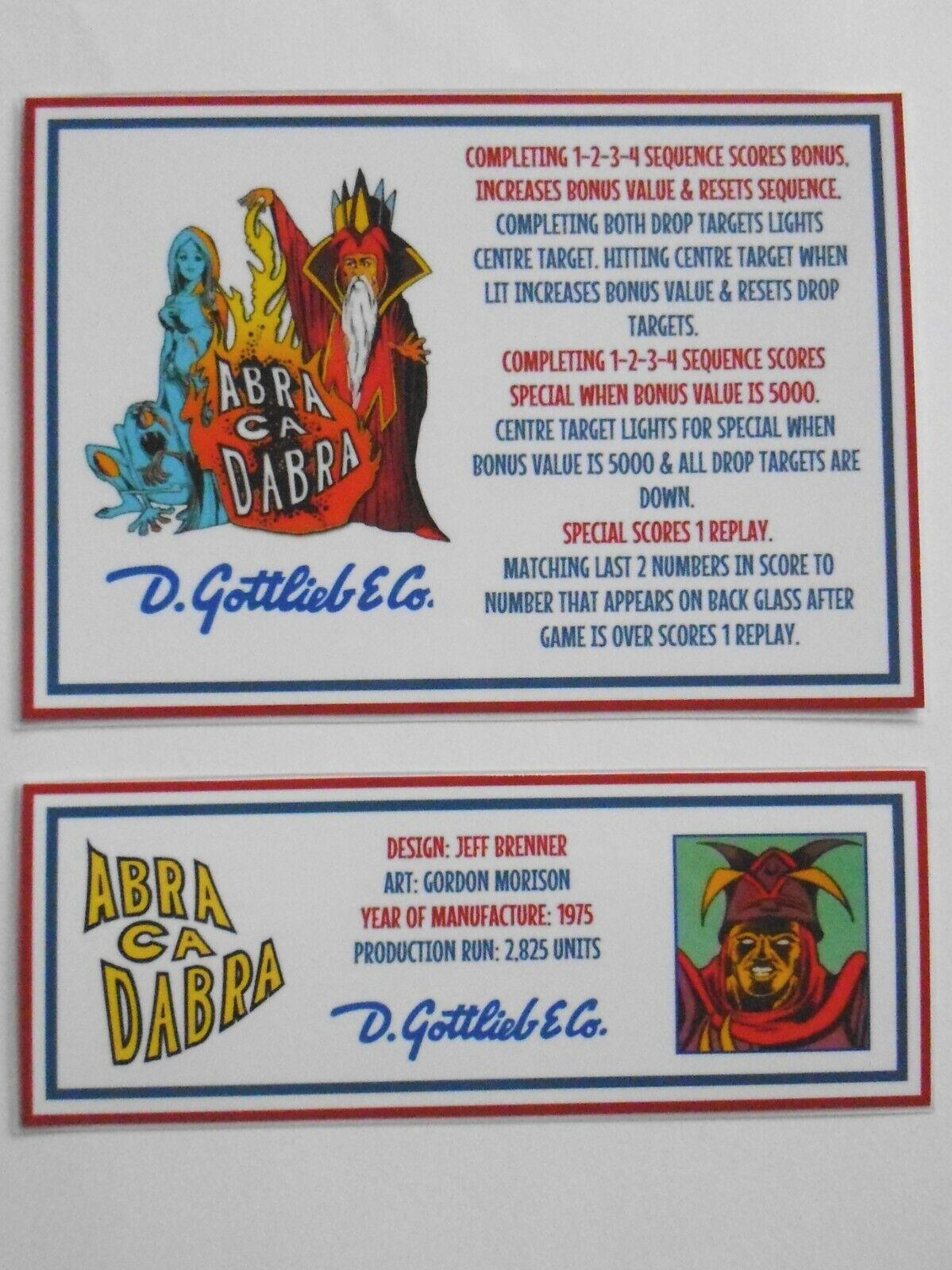 * * 'ABRA CA DABRA' Gottlieb 1975 Custom Instruction/Apron Cards (New) * *
