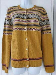 Womens-Country-Rose-Mustard-Fairisle-50s-Vintage-Landgirl-Style-Knit-Cardigan-L