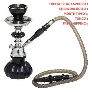 Hookah-Black-Pumpkin-Shisha-Pipe-Free-Flavour-x1-Charcoal-x-1-Mouth-Tips-x-4