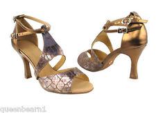 Copper Leather Ballroom Salsa Latin Dance Shoes heel 3 Size 9 Very fine 7004