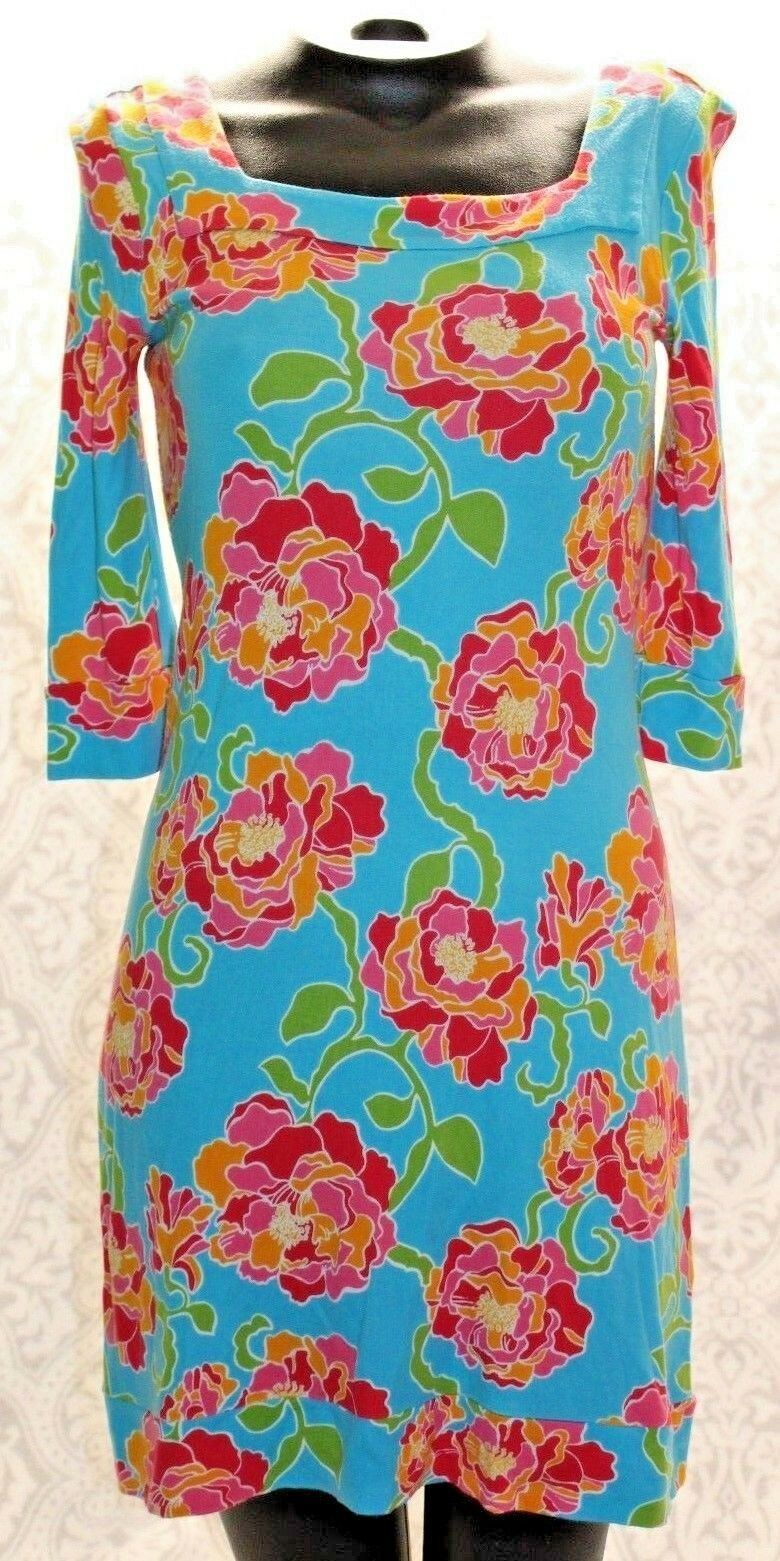 Lilly Pulitzer Womens XS Dress bluee with orange pink flowers 3 4 Sleeves