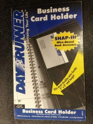 "DAYRUNNER BUSINESS CARD HOLDER  5/"" X 8/' PAGE SIZE SNAP IN  4 holders"