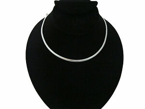New-Essential-16-034-Silver-4mm-Omega-Necklace-Choker-Collar-Chain-CO1