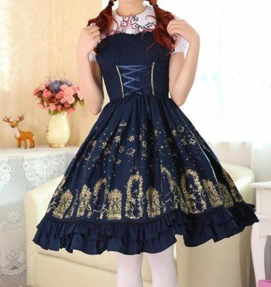 Cosplay Gothic Vintage Lolita Fairy Tale Deep Blue JSK Dress to Shanghai