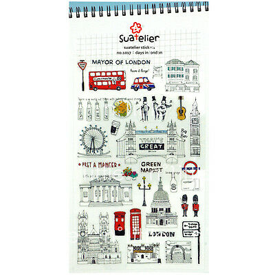 Days in London Style Transparent Diary Deco Stickers Labels Scrapbook Journal