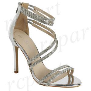 Details about New women\u0027s shoes evening rhinestones back zipper high heel  wedding prom silver