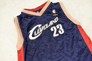 save off 168e1 58f38 Details about Lebron James Cleveland Cavaliers Jersey Navy 23 Reebok Youth  Large