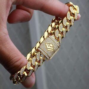 8Ct-Round-Cut-Diamond-14K-Yellow-Gold-Finish-Men-034-s-Link-Bracelet