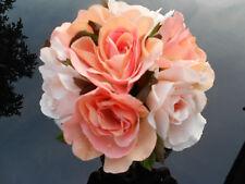 Peach & White Roses in Terracotta Pot