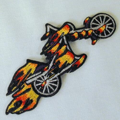 MOTORCYLE W FLAMES EMBROIDERED PATCH P199 iron on sew CLOTH JACKET patches NEW