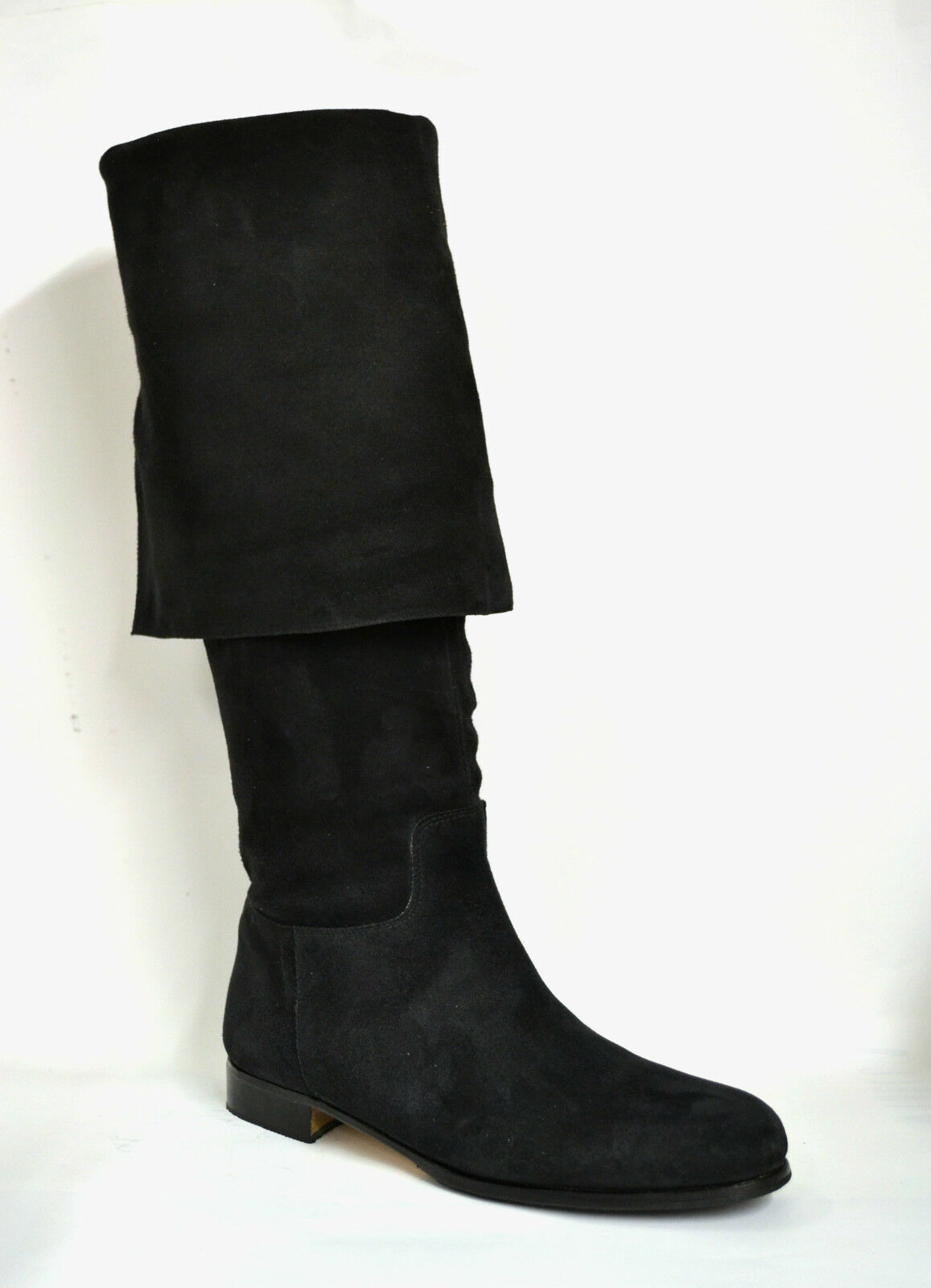 Boots man Teague Sparrow Tailored Real Suede Black Pirate Cosplay
