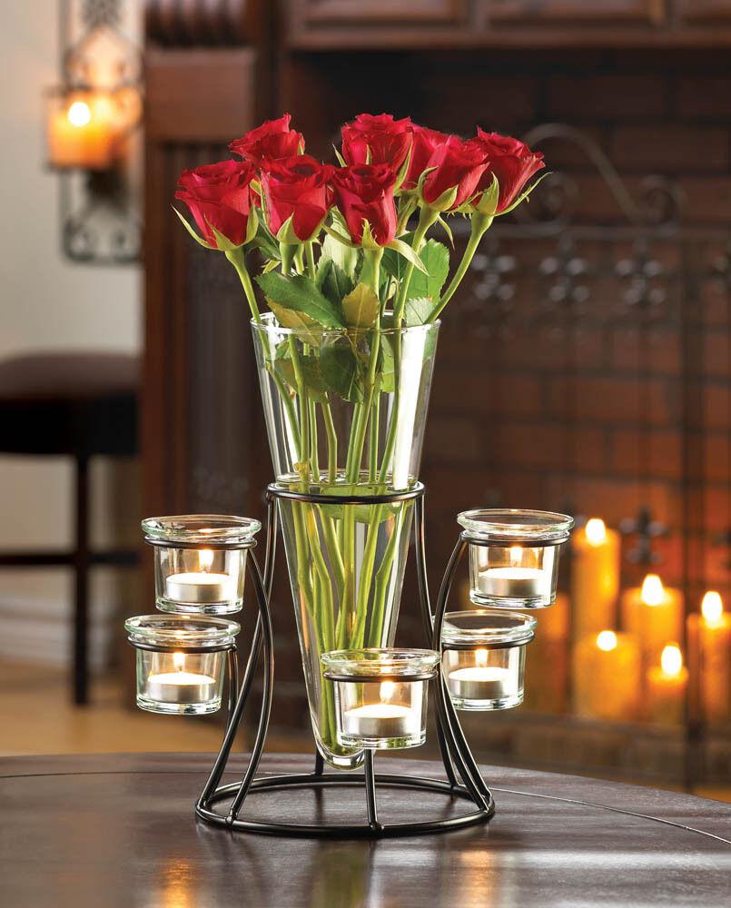 Lot de 6 Cercle Votive Support Avec Vase Bougie Mariage Fleur Centre Table