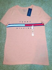 7a535d101819f Tommy Hilfiger Womens XS T-shirt Big Logo Relaxed Fit Short Sleeve ...