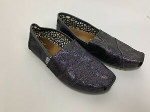 4e17ab45eaa Image is loading TOMS-Dark-Gray-Rainbow-Glitter-Sparkle-Flats-Shoes-