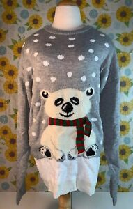 Women-s-Grey-Ugly-Christmas-Sweater-With-Polar-Bear-Size-XL