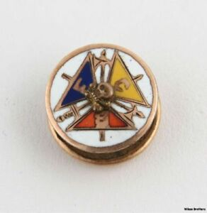 Knights-Of-Pythias-Vintage-Fraternal-8k-Oro-Member-Crest-Pin-Coleccionable