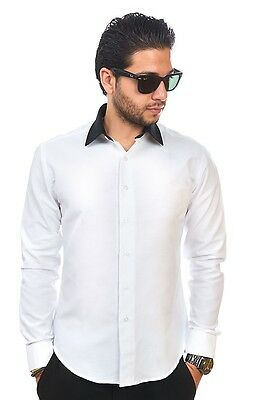 New Mens Dress Shirt White / Black Collar Tailored Slim Fit Wrinkle Free BY AZAR
