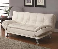 Coaster 300291 Futon Sleeper Sofa Bed White Faux Leather Upholstery
