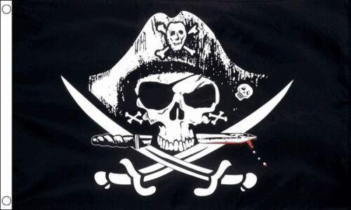 Crossed Sabres Pirate Skull and Crossbones 5ft x 3ft Flag Banner