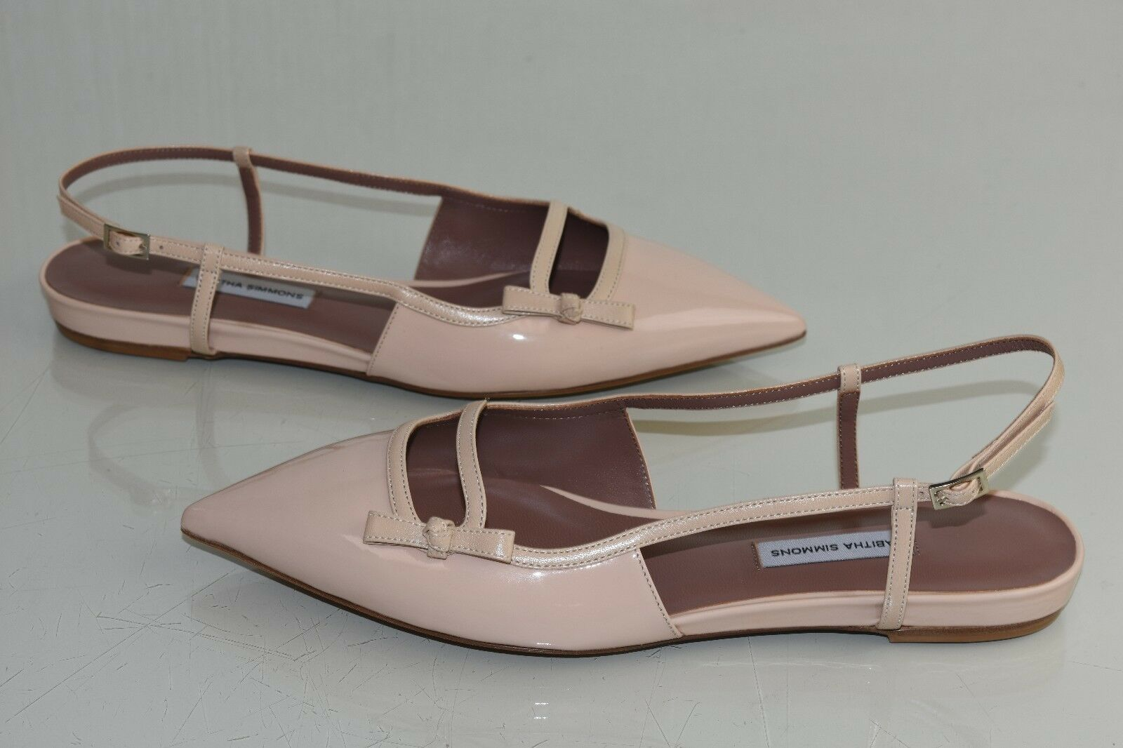 $695 NEW Tabitha Simmons Dilly Slingback Pointy Flats NUDE BEIGE  Patent 40
