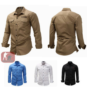 Mens-Army-Cargo-Shirts-Long-Sleeve-Shirt-Military-Tactical-Combat-Sport-Casual