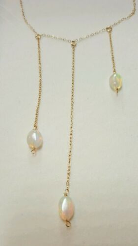 3cts oval Ethiopian Fire Opal on SOLID 14K gold drop tiered necklace