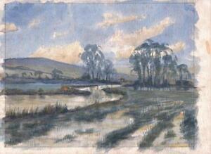 LAWRENCE-BELBIN-Watercolour-Painting-SNOWY-WINTER-LANDSCAPE