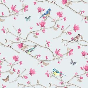 Holden Decor Kira Oiseau Motif Papillon Floral Fleur Rouleau Papier