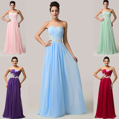 APPLIQUE LONG Bridesmaid Wedding Ballgown Party Formal Evening Prom Maxi Dresses