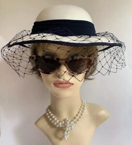 C & A Vintage 1990s Blue & Ivory Dress Hat With Blue Net And Ribbon Bow Detail