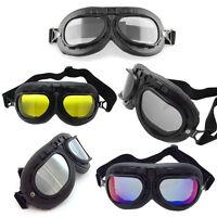 Helmet Steampunk Black Motorcycle Flying Goggles Vintage Pilot Biker Lens Us