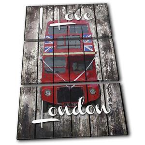 Image Is Loading Shabby Chic London Bus Urban TREBLE CANVAS WALL